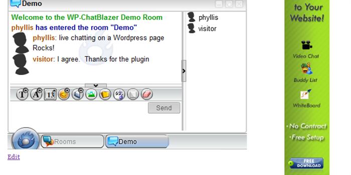 WP ChatBlazer adalah plugin yang memungkinkan kita untuk menanamkan aplikasi ChatBlazer untuk chatting di halaman WordPress Kita bisa membuat chat room