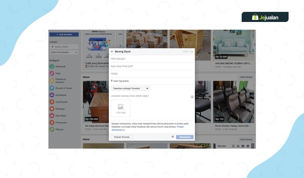 cara beriklan di Facebook Marketplace